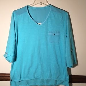 Chico's Hi Lo Aquamarine Blouse